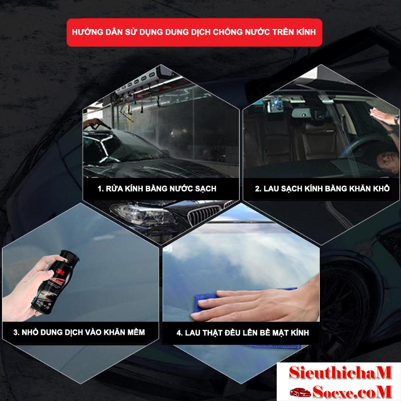 Chai chống bám nước trên kính xe hơi 3m